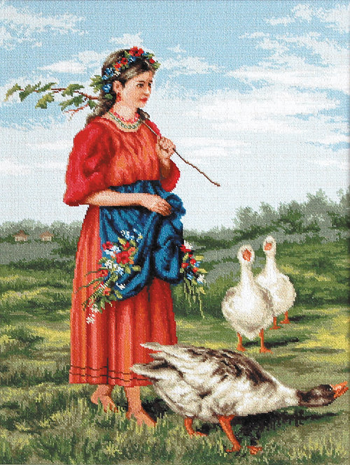 B486 Girl with geese