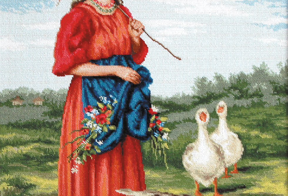 B486 Girl with geese - Cross Stitch Kit Luca-S
