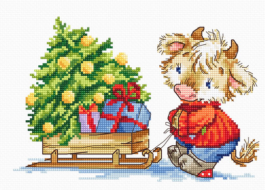 B1181 Calf with Christmas tree - Cross Stitch Kit Luca-S