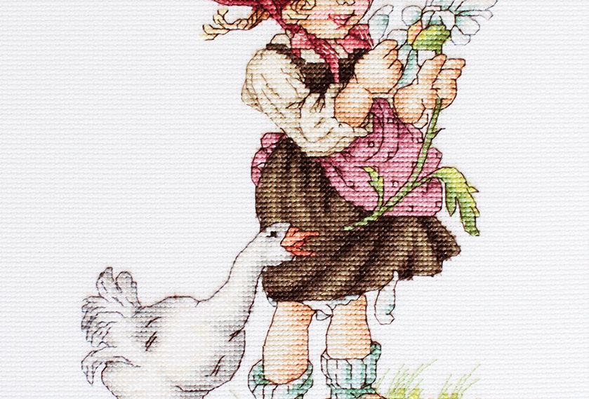 B1047 Girl with the goose - Cross Stitch Kit Luca-S