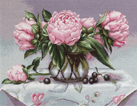 B494 Vase of peonies