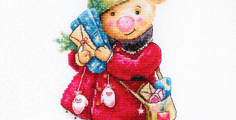 B1153 Christmas pig - Cross Stitch Kit Luca-S