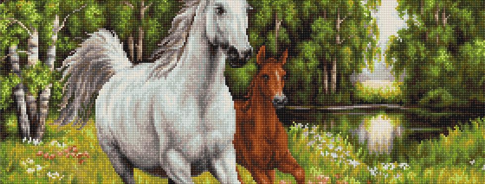 G524 Horses at large - Petit Point Kit Luca-S