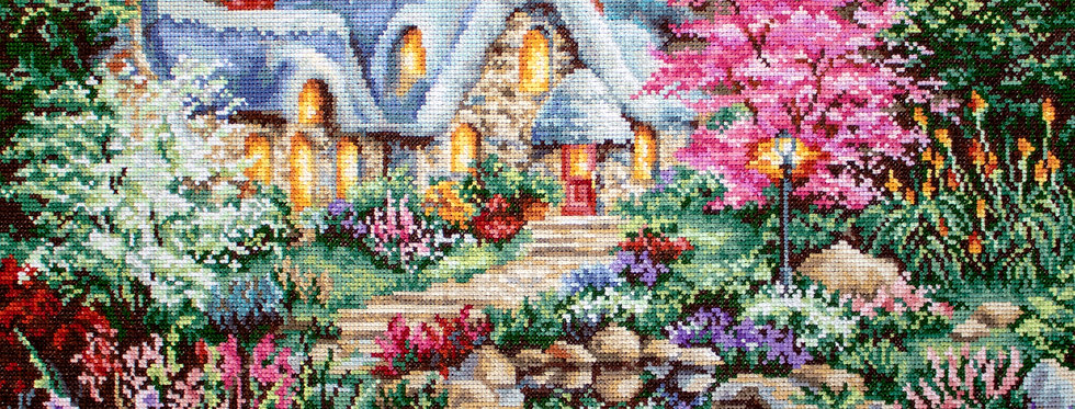 LETI915 Cottage Pond - Cross Stitch Kit LETISTITCH