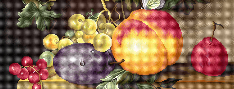 B593 Still life with peach and grapes - Cross Stitch Kit Luca-S