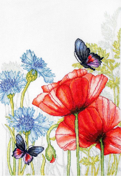 BU4018 Amapolas y Mariposas
