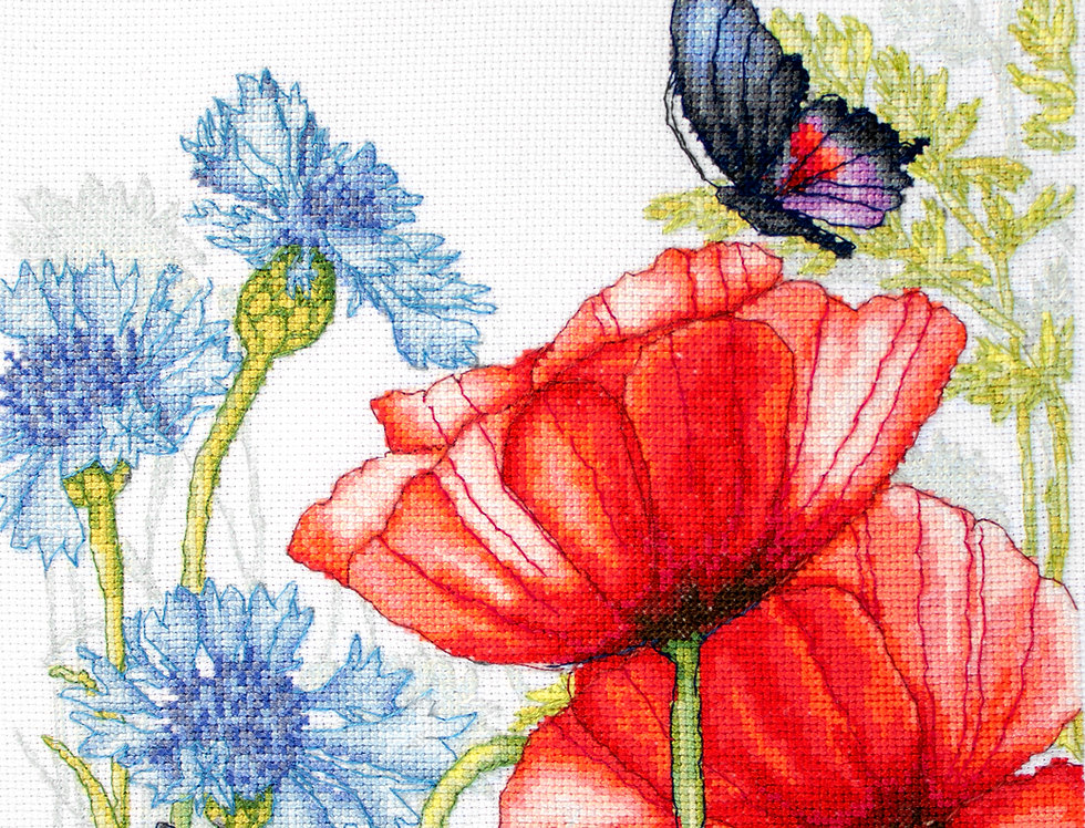 BU4018 Poppies and Butterflies - Cross Stitch Kit