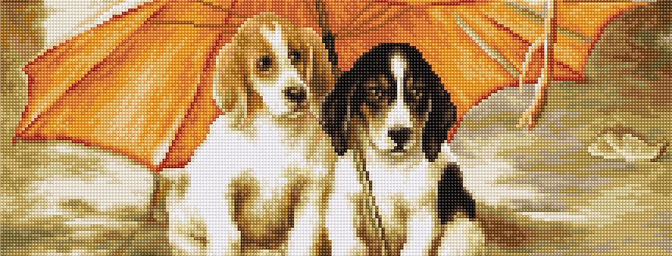 B550 Two dogs under an umbrella - Cross Stitch Kit Luca-S