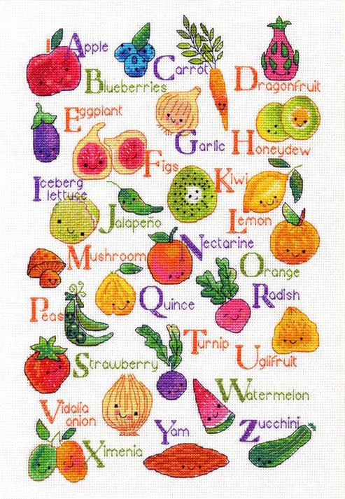 Frutas y verduras - 70-35368 Dimensions - Kit de punto de cruz