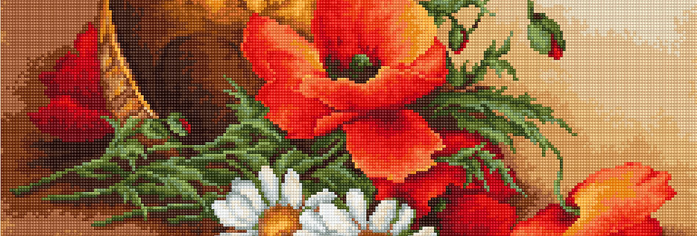 G500 Wildflowers and Poppies - Petit Point Kit Luca-S
