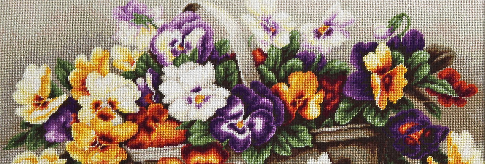 B503 Basket of pansies - Cross Stitch Kit Luca-S