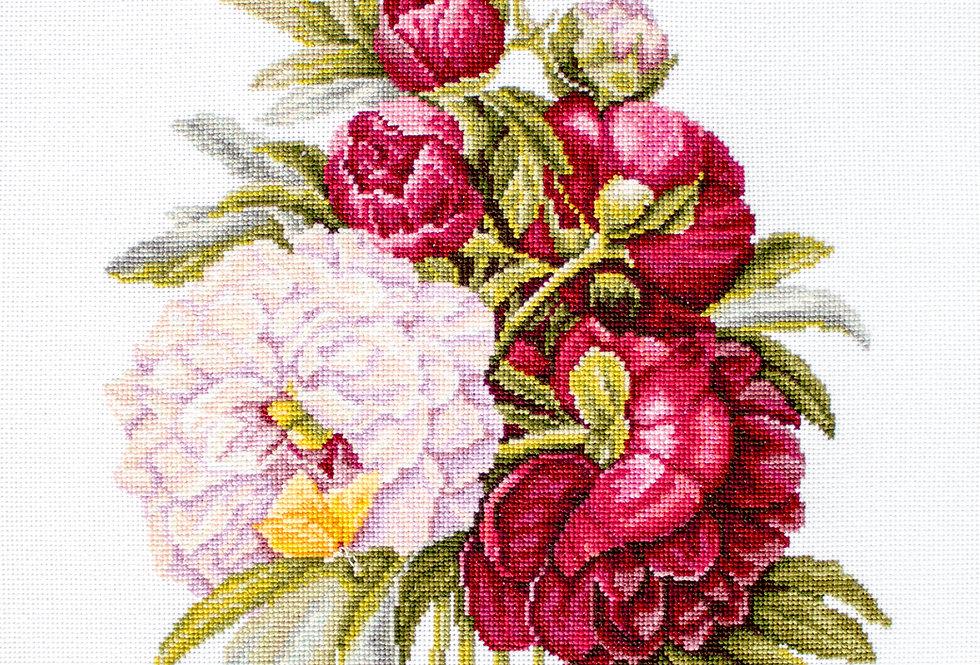 B2354 Peonies Bouquet - Cross Stitch Kit Luca-S