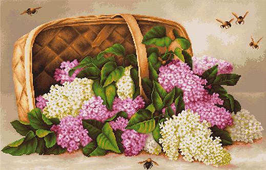 B501 Basket of lilacs