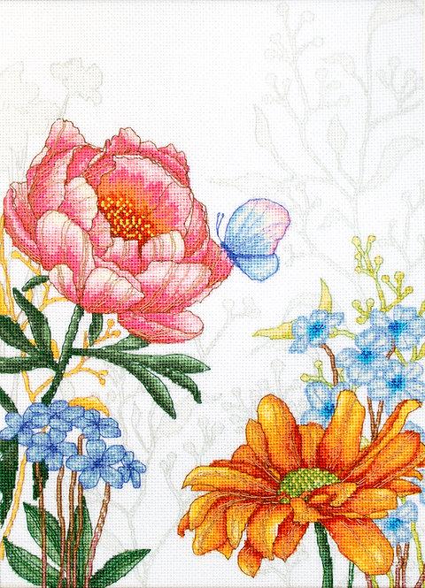 BU4019 Flores y Mariposas - Luca-S - Kit de Punto de Cruz