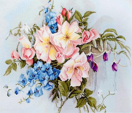 BA2362 Ramo de flores con campanas - Luca-S - Kit de Punto de Cruz