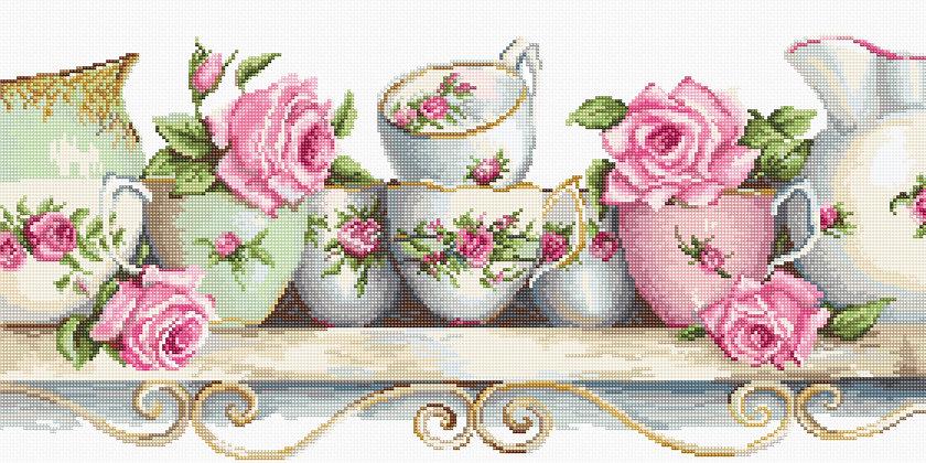 Porcelain and roses - Aida 18 ct.