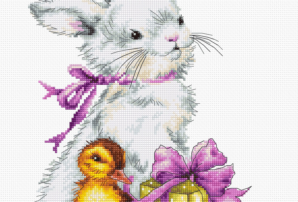 B1127 Rabbit and duckling - Easter - Cross Stitch Kit Luca-S