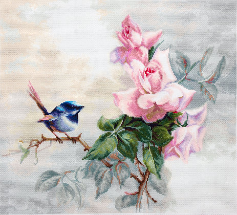 Bird and pink roses