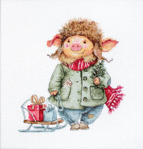 B1160 Cerdo de Navidad - Luca-S - Kit de Punto de Cruz
