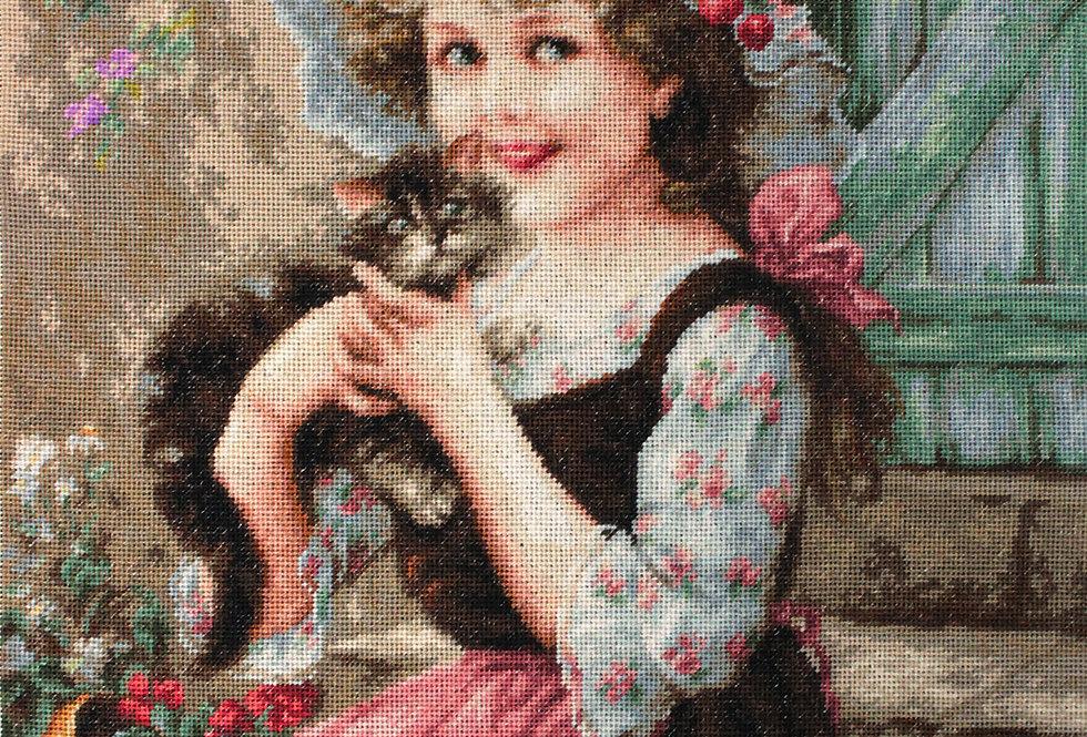G538 Little Girl with Kitten - Petit Point Kit Luca-S