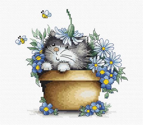 Kitten among flowers