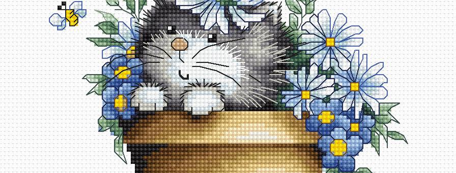 B1048 Kitten among flowers - Cross Stitch Kit Luca-S