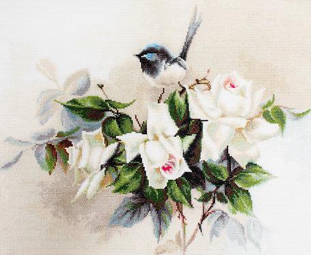 BA2316 Pajaro y Rosas blancas - Luca-S - Kit de Punto de Cruz