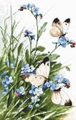 LETI 939 Butterflies and bluebird flowers
