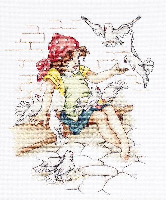 B1051 Niña y palomas - Luca-S - Kit de Punto de Cruz