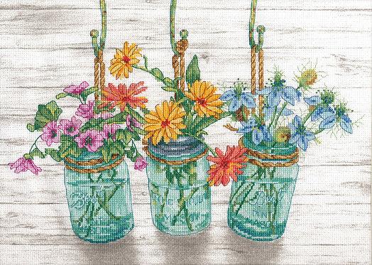 Tarros de flores - 70-35378 Dimensions - Kit de punto de cruz