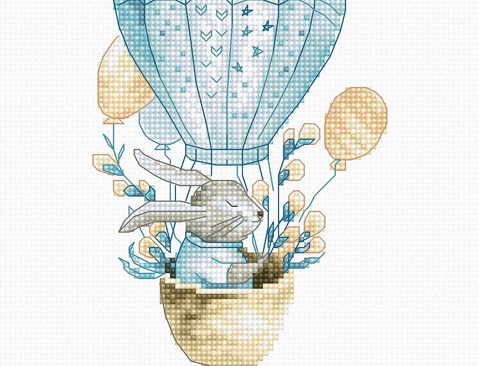 B1150 Rabbit in a flying balloon - Cross Stitch Kit Luca-S
