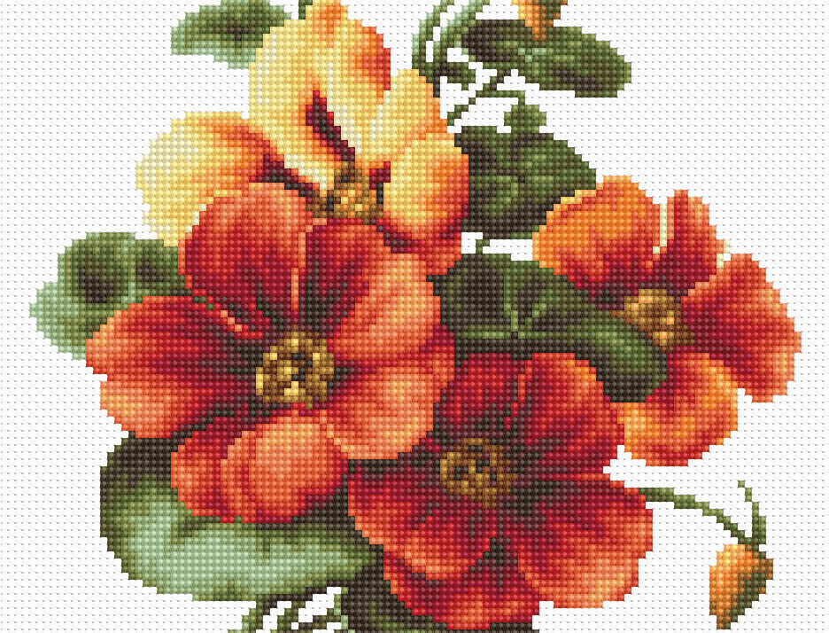 BM3002 Flores - Lavatera - Cross Stitch Kit Luca-S