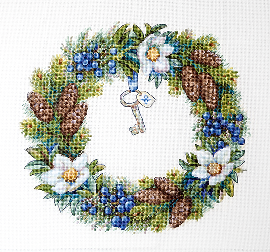 K-104 Winter Wreath - Merejka - Kit de punto de cruz