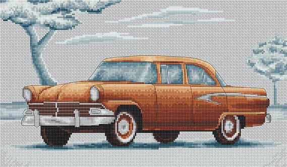 B2234 Retro Car, Kit de Punto de Cruz Luca-S