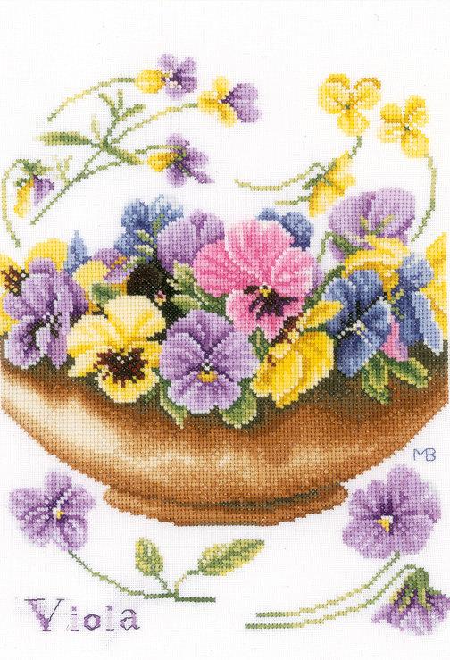 Violetas - Lanarte - Kit de punto de cruz
