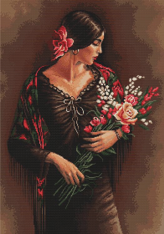 B473 Española con flores, kit de punto de cruz Luca-S