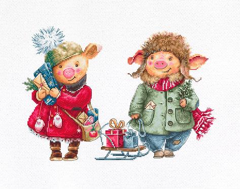 B1161 Christmas pigs