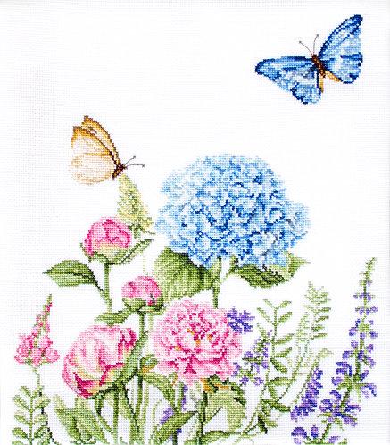B2360 Flores de verano y mariposas - Luca-S - Kit de Punto de Cruz