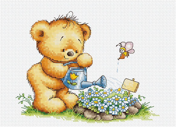 Little bear with watering