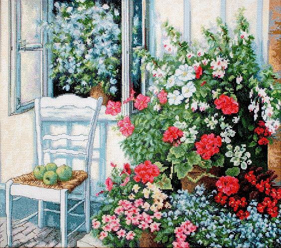 BU4017 Terraza con flores - Luca-S - Kit de Punto de Cruz