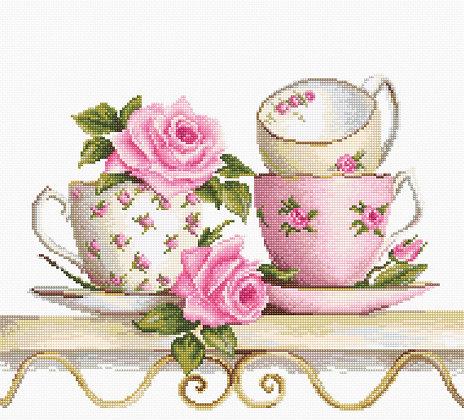 Tea cups stacked - Aida 16ct.