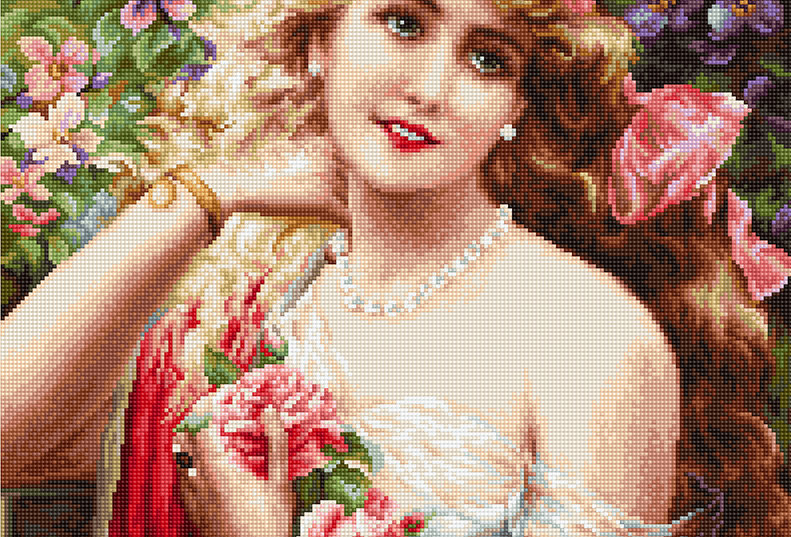 B549 Beautiful Girl With Roses - Cross Stitch Kit Luca-S