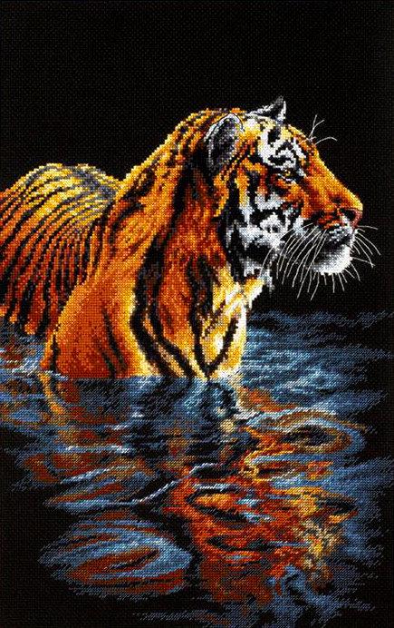 Tigre relajándose - 35222 Dimensions - Kit de punto de cruz