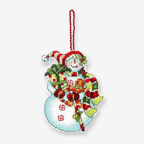 Muñeco de nieve con dulces - 70-08915 Dimensions - Kit de punto de cruz