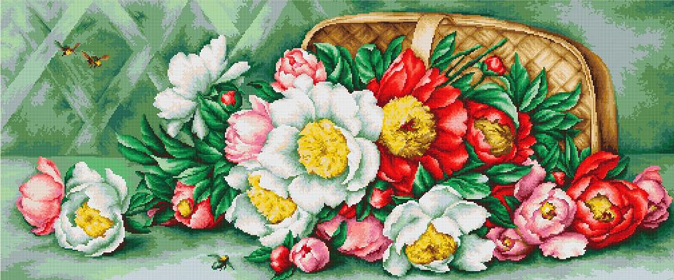 Basket of peonies