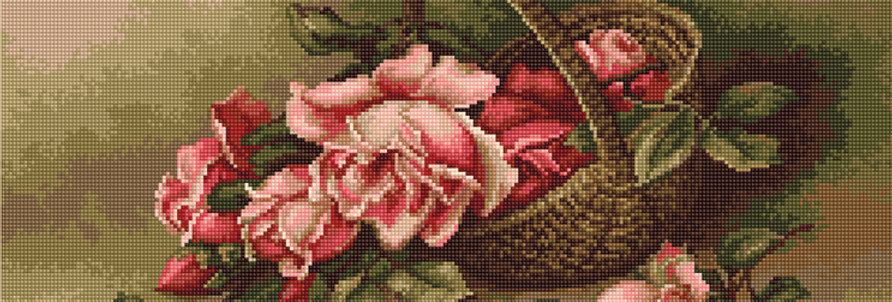 G483 Basket with Roses - Petit Point Kit Luca-S