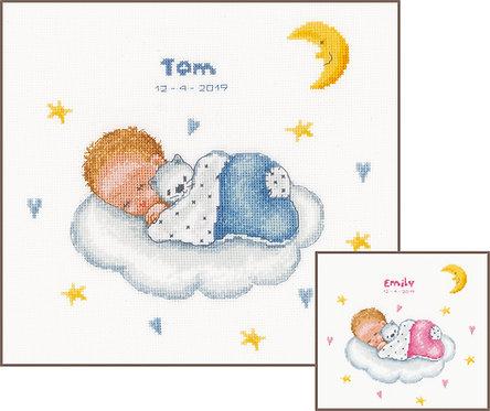 Natalicio - Bebé dormida en la nube - Vervaco - Kit de punto de cruz