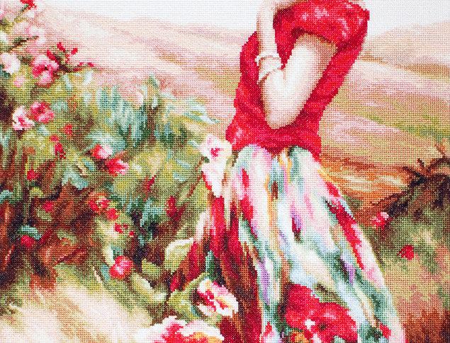 G530 Woman Among Flowers - Petit Point Kit Luca-S