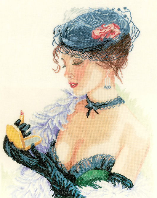 Dama con pintalabios - Lanarte - Kit de punto de cruz