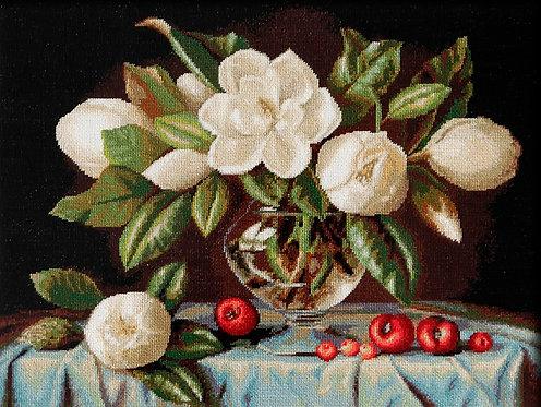 B465 Jarron de Magnolias kit de punto de cruz Luca-S